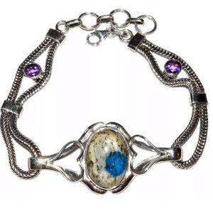 NEW k2Azurite in Quartz w Amethyst Bracelet 925